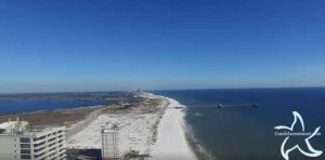 East view from the beach at the Lighthouse in Gulf Shores